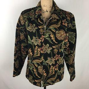 Dressbarn Black Tapestry Print Jacket sz L